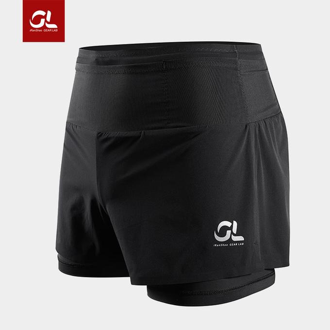 2合1快干运动短裤-微压内衬版